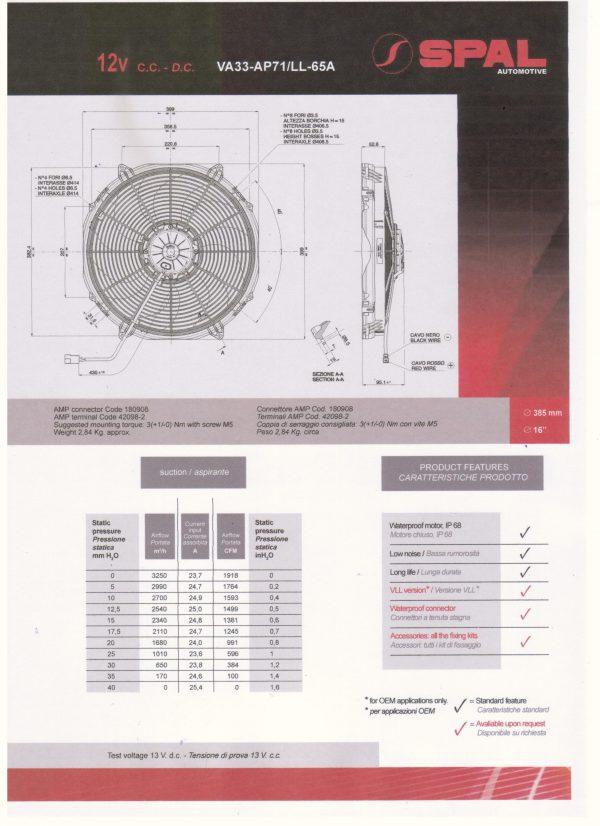 Spal VA33 speciale autosport ventilator / Zuigend. Ø 385 mm-196