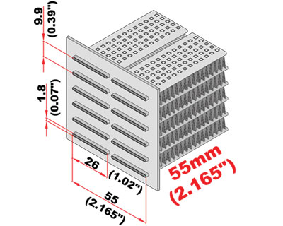 Radiateur koelblok 550 x 452 x 55 mm -1253