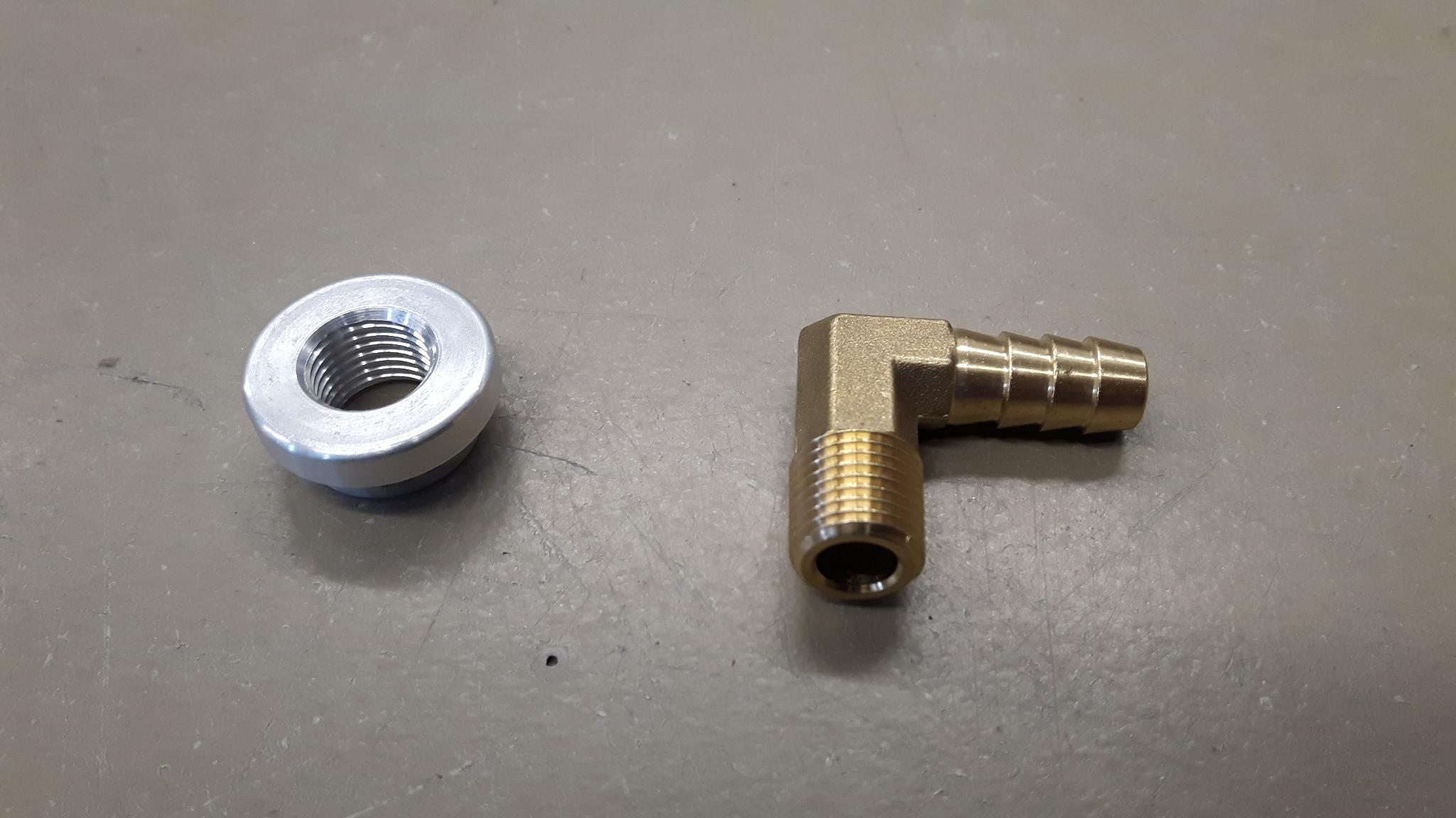 Messing haakse slangpilaar + aluminium lassok 1/4'bsp-0