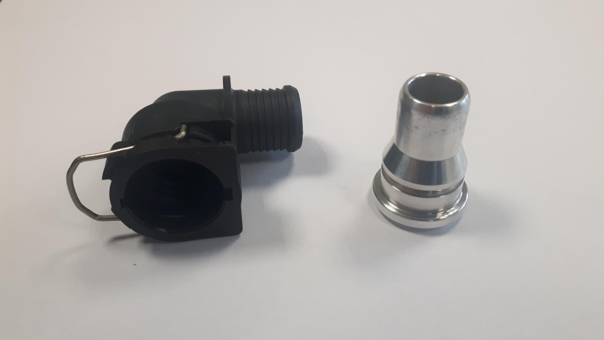 Set nw12- Aluminium las-koppeling NW12 + 90 graden aansluiting Ø 19 mm-0